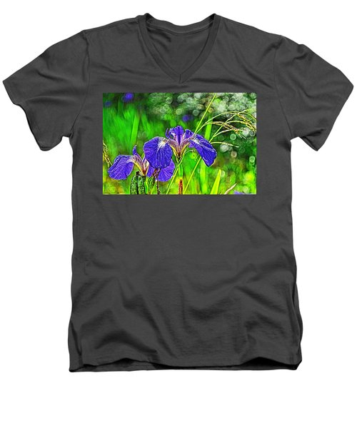 Men's V-Neck T-Shirt featuring the photograph Irises by Cathy Mahnke
