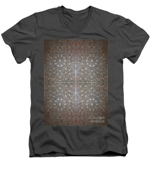 Islamic Wooden Texture Men's V-Neck T-Shirt