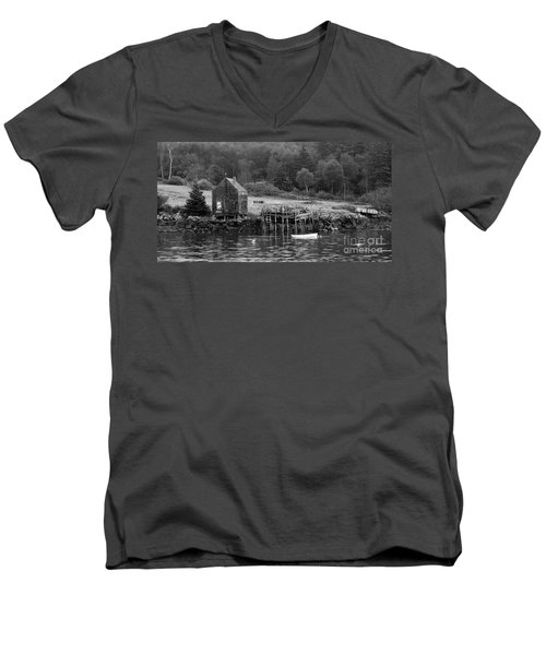 Island Shoreline In Black And White Men's V-Neck T-Shirt