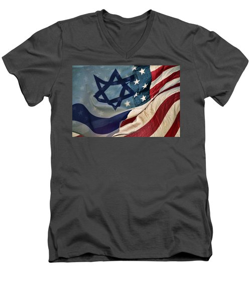 Israeli American Flags Men's V-Neck T-Shirt