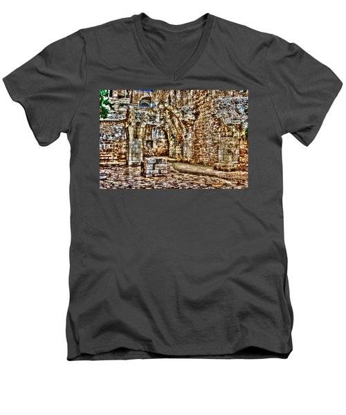 Men's V-Neck T-Shirt featuring the photograph Israels Ruins by Doc Braham