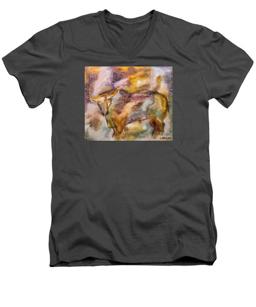 Men's V-Neck T-Shirt featuring the painting Istrian Bull -  Boshkarin by Dragica  Micki Fortuna