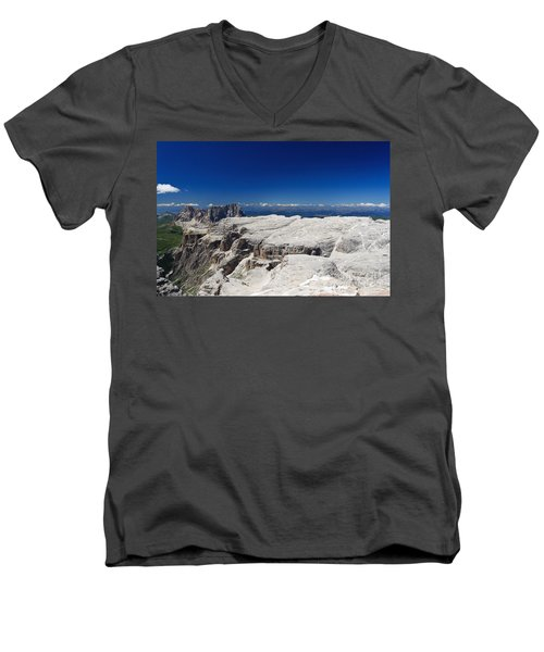 Men's V-Neck T-Shirt featuring the photograph Italian Dolomites - Sella Group by Antonio Scarpi