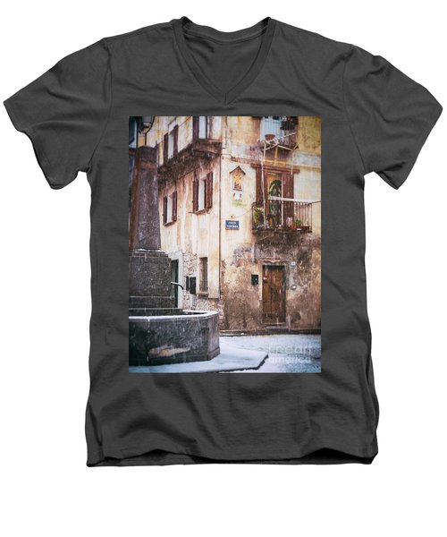 Men's V-Neck T-Shirt featuring the photograph Italian Square In  Snow by Silvia Ganora