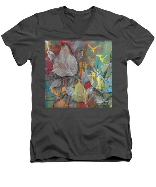 Men's V-Neck T-Shirt featuring the painting It's Electric by Robin Maria Pedrero