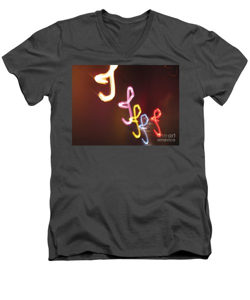 Men's V-Neck T-Shirt featuring the photograph It's I... I... And More Of I. Dancing Lights Series by Ausra Huntington nee Paulauskaite