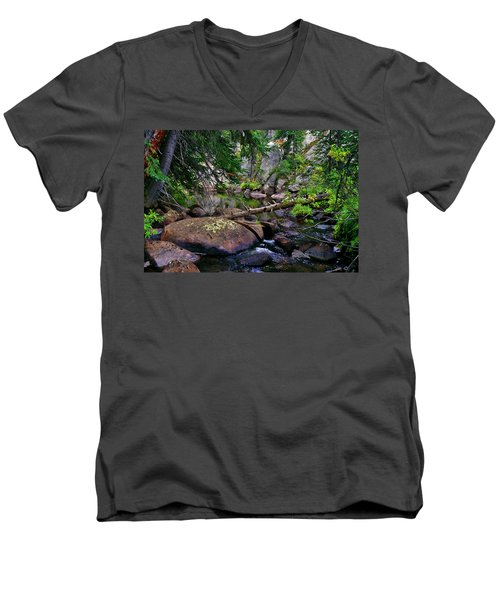 Men's V-Neck T-Shirt featuring the photograph Ivanhoe Serenity by Jeremy Rhoades