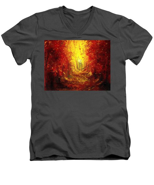 Men's V-Neck T-Shirt featuring the painting Ive Fallen For You by Shana Rowe Jackson