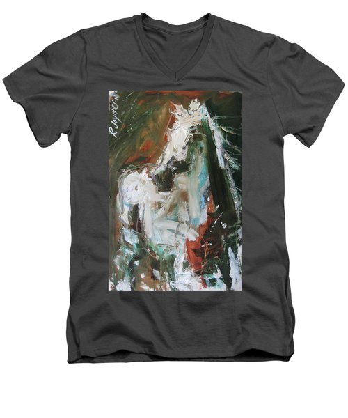 Men's V-Neck T-Shirt featuring the painting Ivory by Robert Joyner