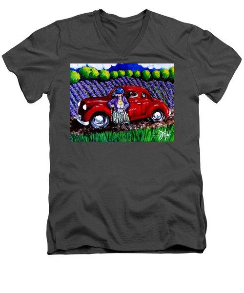 J. C. 1931 Fishing In Red Men's V-Neck T-Shirt