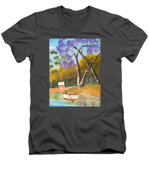 Men's V-Neck T-Shirt featuring the painting Jacaranda Tree by Pamela  Meredith
