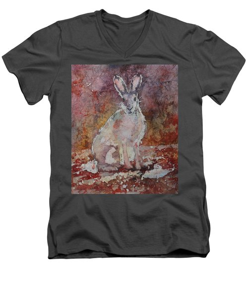 Men's V-Neck T-Shirt featuring the painting Jack Rabbit by Ruth Kamenev