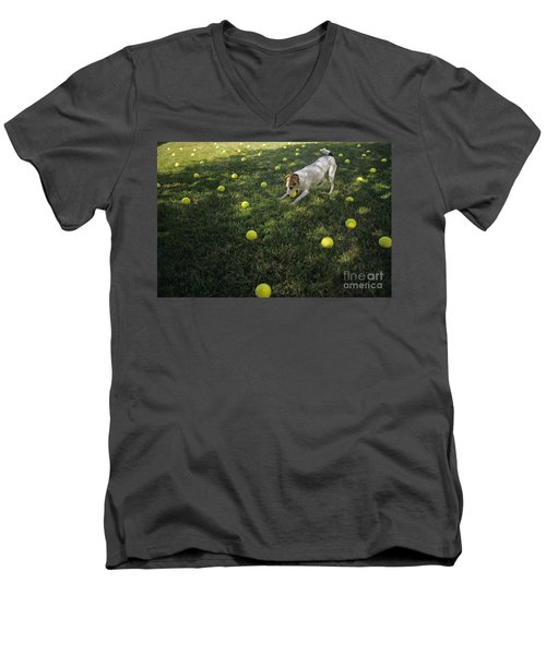 Jack Russell Terrier Tennis Balls Men's V-Neck T-Shirt