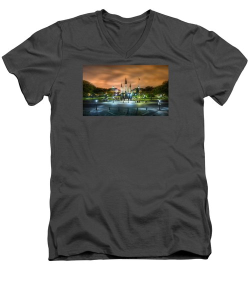 Jackson Square At Night Men's V-Neck T-Shirt by Tim Stanley