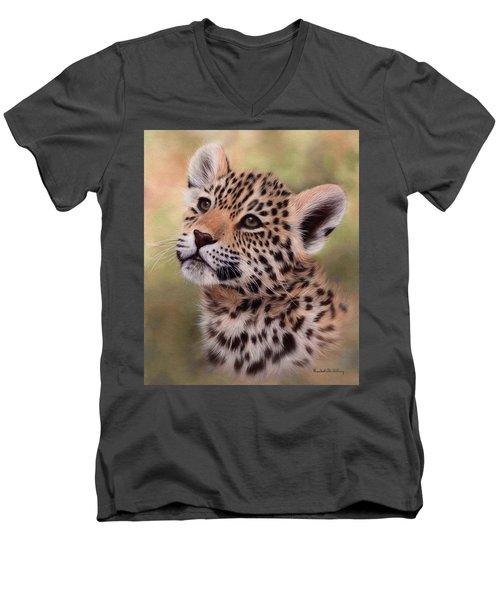 Jaguar Cub Painting Men's V-Neck T-Shirt