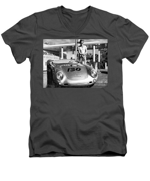 James Dean Filling His Spyder With Gas Black And White Men's V-Neck T-Shirt by Doc Braham