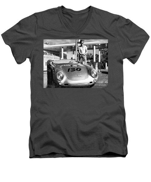 Last Picture Taken Of James Dean Men's V-Neck T-Shirt