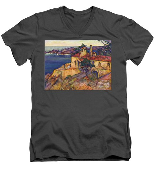 James House Carmel Highlands California By Rowena Meeks Abdy 1887-1945  Men's V-Neck T-Shirt by California Views Mr Pat Hathaway Archives