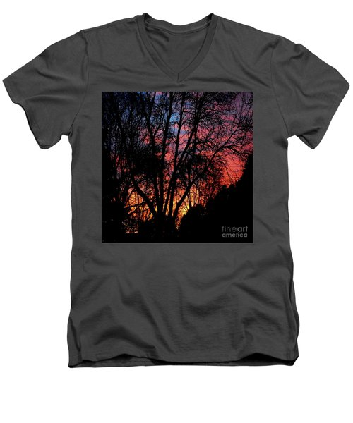 Men's V-Neck T-Shirt featuring the photograph January Dawn by Luther Fine Art