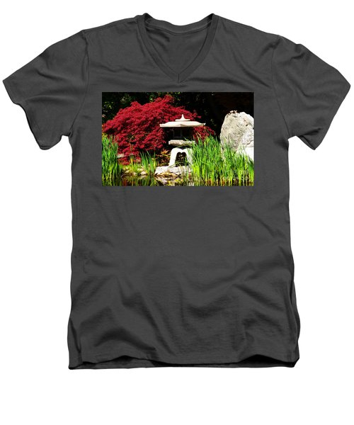 Men's V-Neck T-Shirt featuring the photograph Japanese Garden by Angela DeFrias