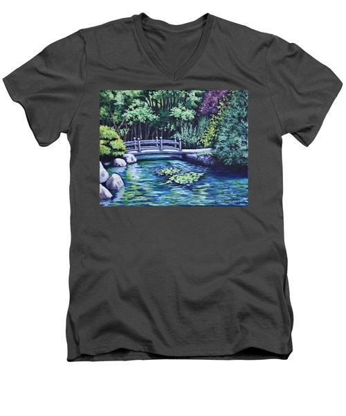 Men's V-Neck T-Shirt featuring the painting Japanese Garden Bridge San Francisco California by Penny Birch-Williams