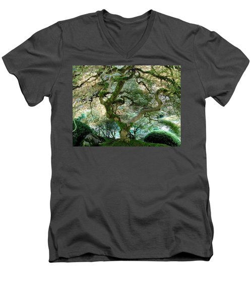 Men's V-Neck T-Shirt featuring the photograph Japanese Maple Tree II by Athena Mckinzie