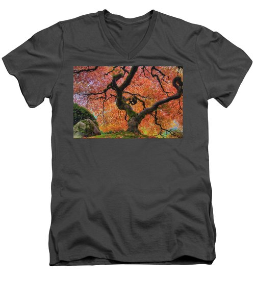 Japanese Maple Tree In Fall Men's V-Neck T-Shirt