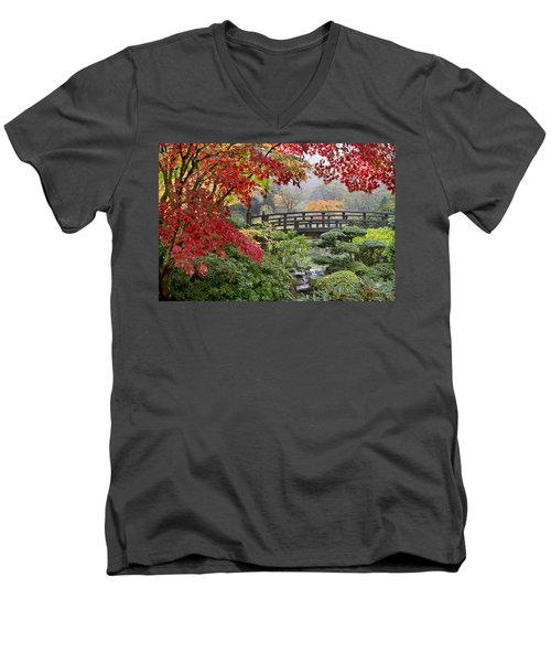 Men's V-Neck T-Shirt featuring the photograph Japanese Maple Trees By The Bridge In Fall by JPLDesigns