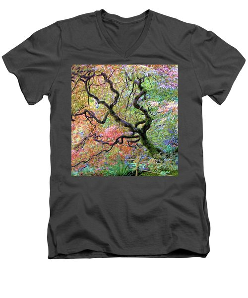 Japanese Maple Men's V-Neck T-Shirt by Wendy McKennon