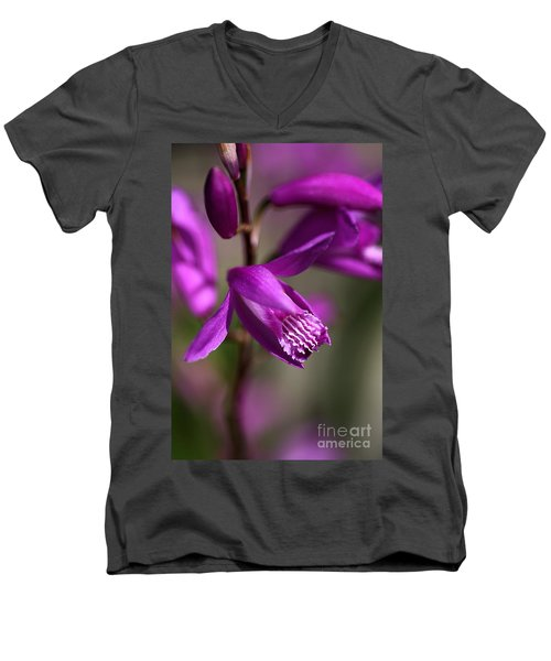Men's V-Neck T-Shirt featuring the photograph Japanese Orchid by Joy Watson