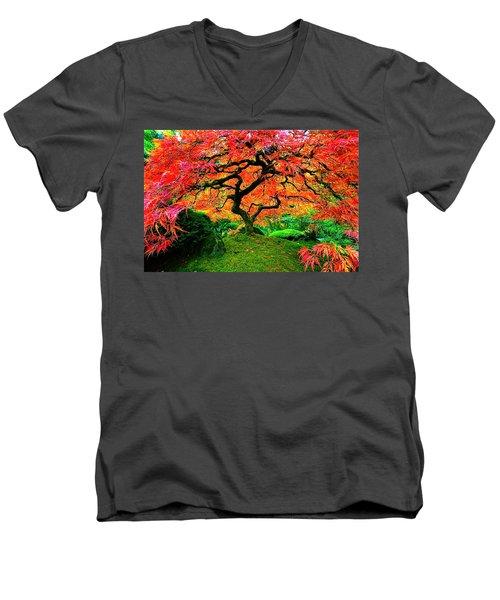 Japanese Red Maple Men's V-Neck T-Shirt