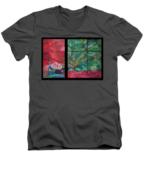 Men's V-Neck T-Shirt featuring the painting Japanesse Flower Arrangment by Joshua Morton