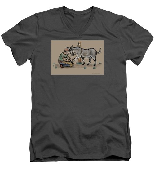 Jasper Warms Up To The Farrier Men's V-Neck T-Shirt by Dawn Senior-Trask