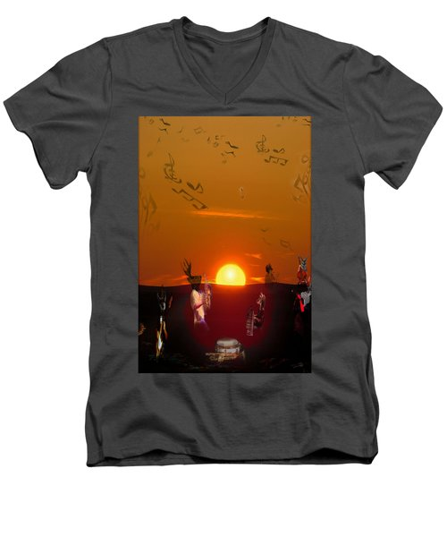 Men's V-Neck T-Shirt featuring the digital art Jazz Fest by Cathy Anderson