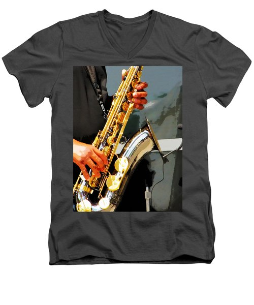 Jazz Man Men's V-Neck T-Shirt by John Freidenberg