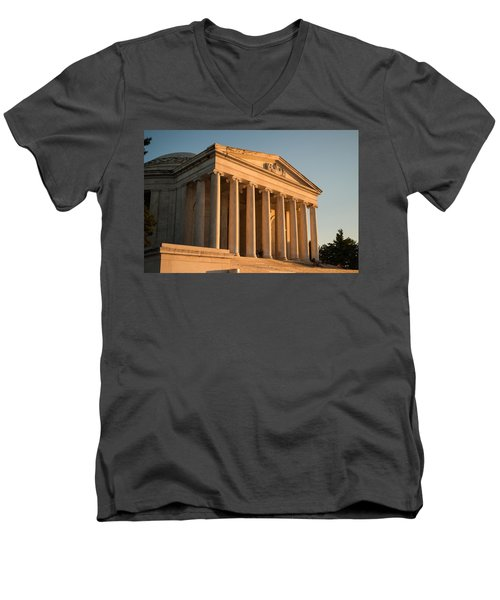 Jefferson Memorial Sunset Men's V-Neck T-Shirt by Steve Gadomski