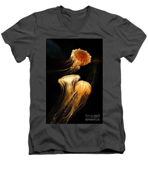 Jellyfish Trio Floating Against A Black Men's V-Neck T-Shirt