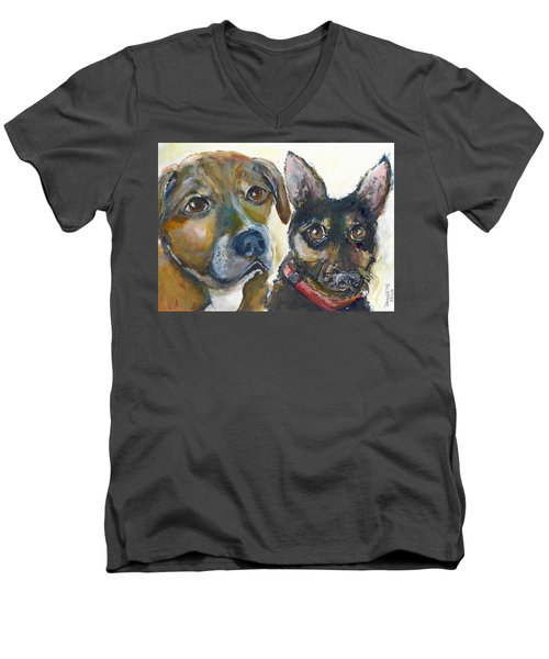 Jena And Dozer  Men's V-Neck T-Shirt by Bernadette Krupa