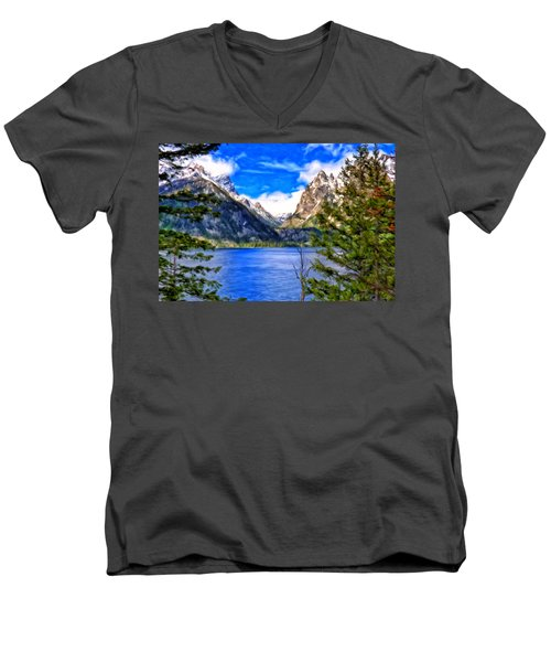 Jenny Lake Men's V-Neck T-Shirt by Michael Pickett
