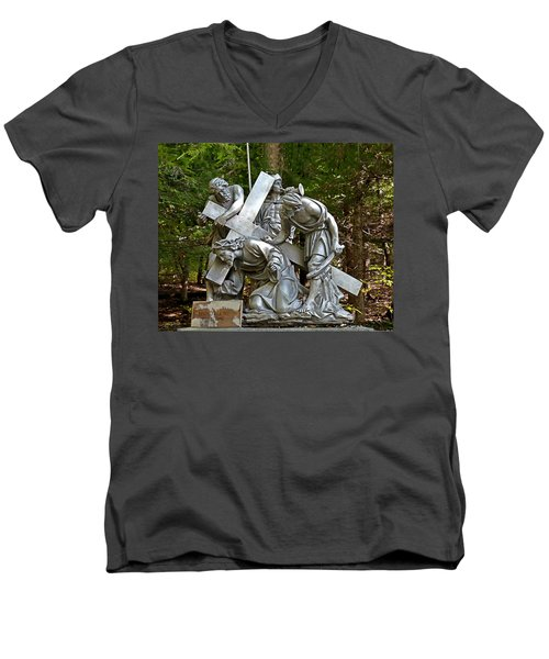 Jesus Falls The First Time Men's V-Neck T-Shirt by Terry Reynoldson