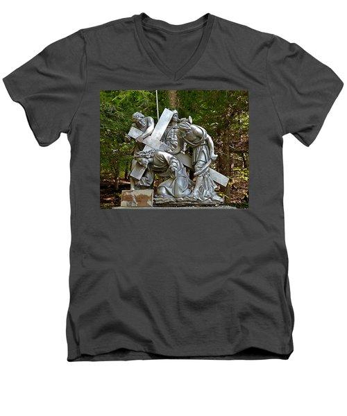 Jesus Falls The First Time Men's V-Neck T-Shirt