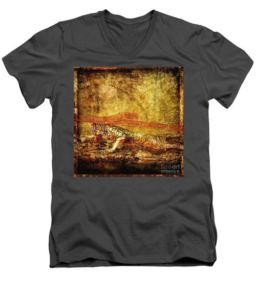 Jesus Falls Third Time Via Dolorosa 9 Men's V-Neck T-Shirt by Lianne Schneider