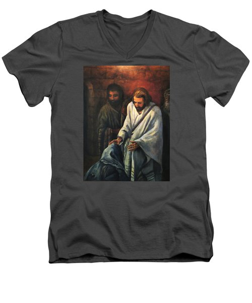 Jesus Healing Beggar Men's V-Neck T-Shirt by Donna Tucker