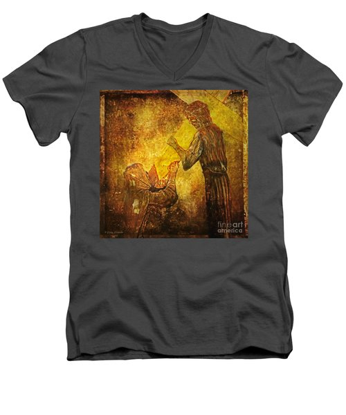 Jesus Meets His Mother Via Dolorosa 4  Men's V-Neck T-Shirt by Lianne Schneider