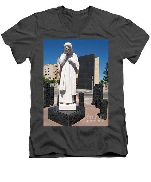 Men's V-Neck T-Shirt featuring the painting Jesus Wept by Robin Maria Pedrero