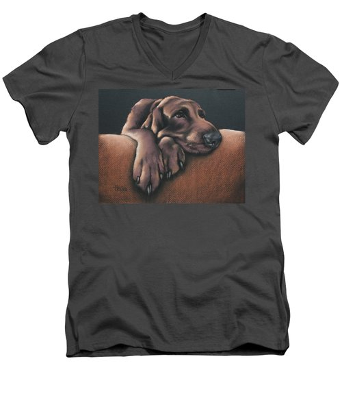 Men's V-Neck T-Shirt featuring the pastel Jethro by Cynthia House