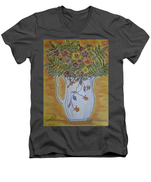 Men's V-Neck T-Shirt featuring the painting Jewel Tea Pitcher With Marigolds by Kathy Marrs Chandler