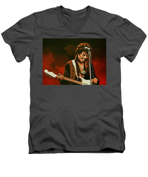 Jimi Hendrix Painting Men's V-Neck T-Shirt