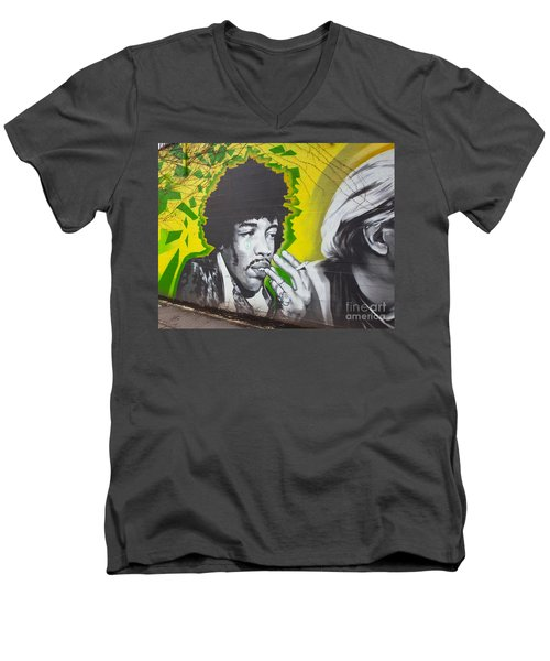 Jimmy Hendrix Mural Men's V-Neck T-Shirt