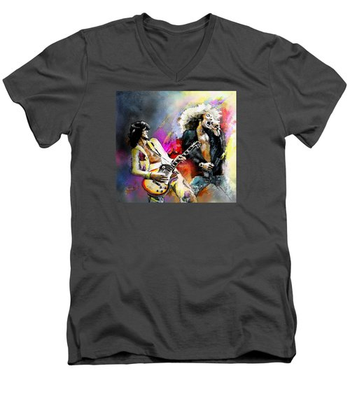 Jimmy Page And Robert Plant Led Zeppelin Men's V-Neck T-Shirt by Miki De Goodaboom